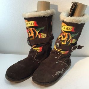 Ed Hardy Womens 8US 5.5UK 39EU Suede Brown Boots